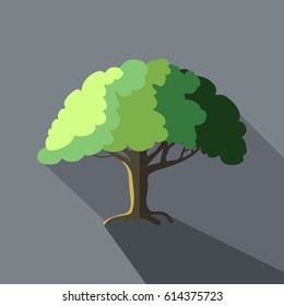 tree icon vector with long flat shadows or shade, landscaping or lawn service design, outdoor parks and nature symbol in minimalist style