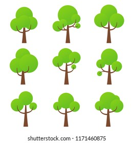 Tree icon. Vector. Nature symbol in flat design. Green forest plants. Collection of design elements. Cartoon illustration.