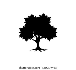 tree icon vector silhouette, isolated on white