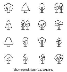 Tree icons pack. Isolated tree symbols collection. Graphic icons element
