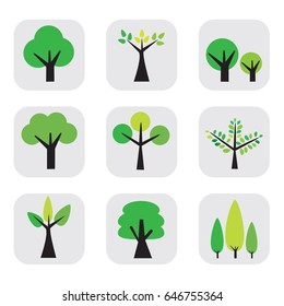 tree icons set, natural trees vector illustration.