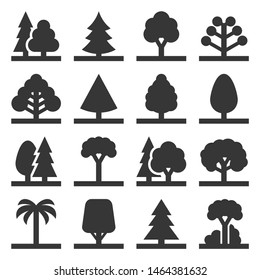 Tree Icons Set on White Background. Vector