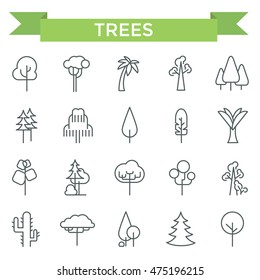 Tree icons, thin line, flat design