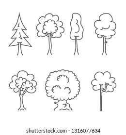 Tree Icons. Vector Doodle Trees Symbols.