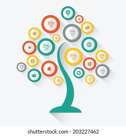 Tree info graphics design,for text,on white background,vector