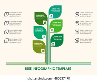 Tree infographic with icons, numbers and placeholder text. Green business diagram, and template. Vector timeline and industry growth chart.