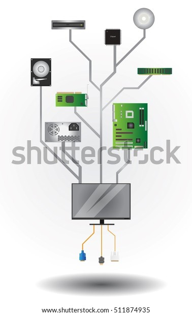 Tree Inside Computer All Hardware Stock Vector (Royalty Free ... on inside a computer poster, inside a computer parts, inside a computer tower, inside a computer ram, inside a computer animation, inside a computer matrix, inside a computer display, inside a laptop, inside a computer with labels, inside a cpu, inside a computer layout, motherboard diagram, inside a pc,