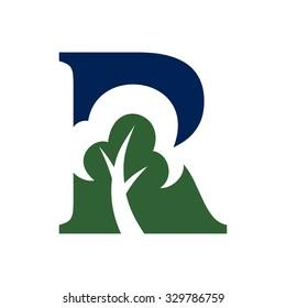 tree inside letter R. logo template.
