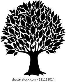 Tree isolated on a white background,Vector illustration