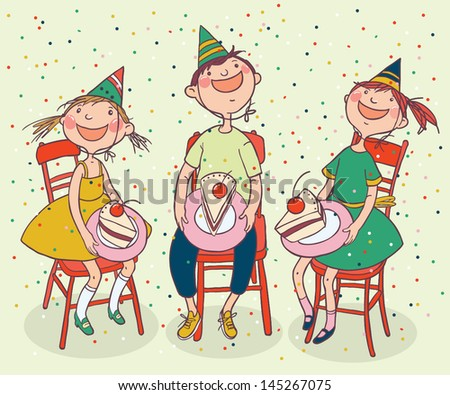 Tree Kids Birthday Cake Children Illustration Stock Vector Royalty