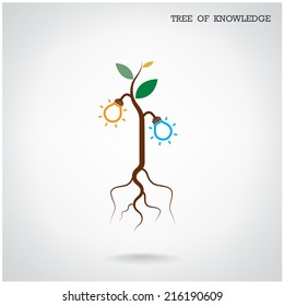 Tree of Knowledge concept. Education and business sign. Vector illustration