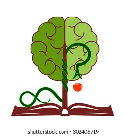 Tree of knowledge with foliage in the form of a brain, growing from the open book.