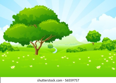 Tree Landscape with blue sky mountains flowers and clouds