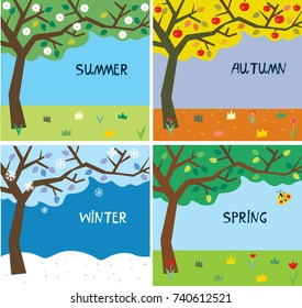 Tree and landscape in four seasons - backgrounds set. Vector graphic illustration
