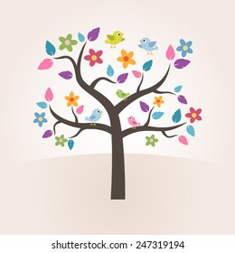Tree Leaf Color Cartoon with Bird for Kids.