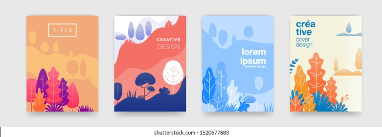 Tree leaf landscape pattern background with abstract forest colors for cover templates creative design. Vector summer, autumn, spring and winter forest trees and leaves landscape background set