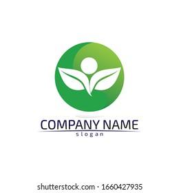Tree leaf vector logo design eco friendly concept