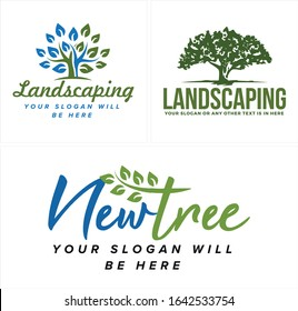 Tree leaves branch plant growth nature green vector logo design combination suitable for landscaping marketing business company organic garden
