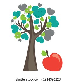 A tree with leaves made of hearts vector. Clipart, print, illustration on a white background with an apple for Valentine's Day