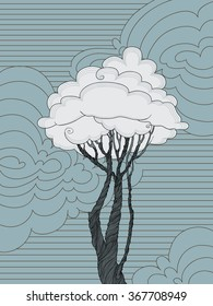 Tree with leaves-clouds in the blue sky background