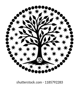 The tree of life with the Aum / Om / Ohm sign in the center of the mandala in the background of the stars. Black and white graphics, logo, symbol, sign. Vector drawing.