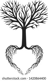 Tree of life, heart shaped branches and roots, vector illustration