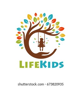 Tree life kids logo template