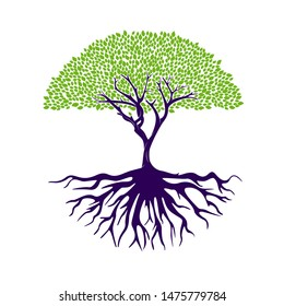 Tree of life logo design inspiration template. Abstract vibrant tree logo design. Root vector