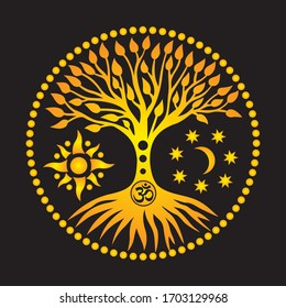 The tree of life with an om / aum/ ohm. Orange symbolic tree sign on a black background. Spiritual mystical and environmental symbol. Vector art graphic.