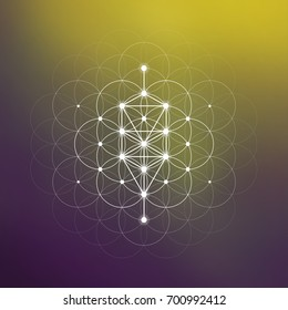 Tree of life sacred geometry symbol in front of repeating interlocking circles pattern and blurry background.