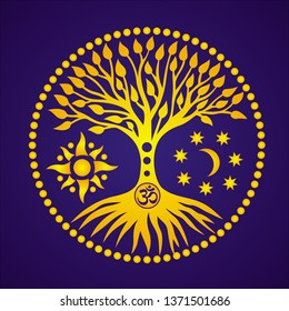 The tree of life with the sign Aum, Ohm or Om  in the center of the mandala on the background of the moon and the sun. Spiritual and sacred symbol. Vector graphics.