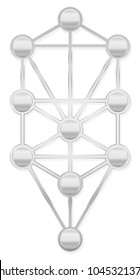 Tree of Life. Silver Kabbalah symbol with ten Sephirots of the Hebrew Kabbalah - isolated on white background.