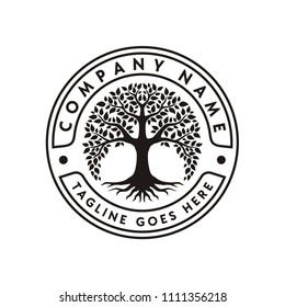 Tree of Life Stamp Seal Emblem Oak Banyan logo design vector