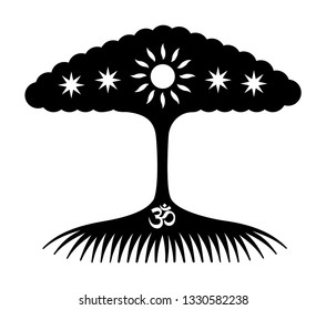 The tree of life with stars, sun, aum / om / ohm. Symbolic mystical black and white drawing. Vector graphics.