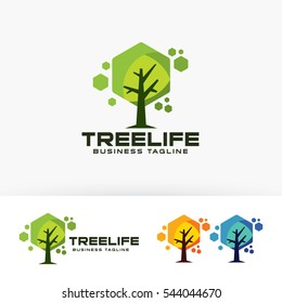 Tree Life. Vector logo template. studio, herbal, natural, nature, environment, health, technology, hexagon