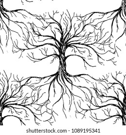 Tree of life - vector seamless pattern with tree and roots silhouette. Hand drawn ink illustration