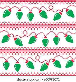 tree lights seamless pattern, ugly Christmas sweater style