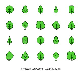 Tree line icon set. Collection of vector symbol in trendy flat style on white background. Nature sings for design.