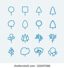 Tree line icons. Vector EPS10