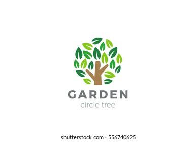 Tree Logo circle shape design vector template. Organic Natural Plant Garden Park Logotype concept icon