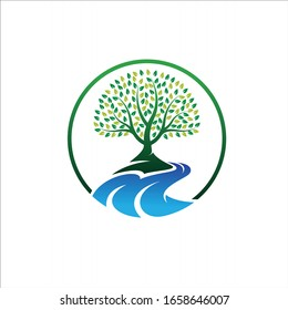 tree logo design with creeks vector concept