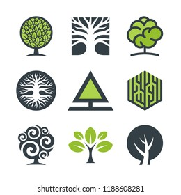Tree logo design graphics, green leaves, branches and roots