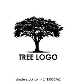 Tree logo design, landscape vintage logo design - Vector illustration