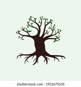 Tree logo design vector isolated, tree with round shape