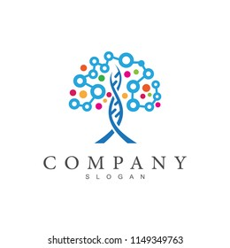 tree logo with dots shape, creative tree logo