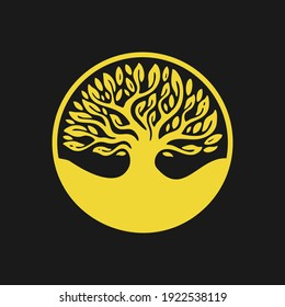 Tree logo illustration. Vector silhouette of a tree. In gold color