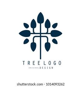 Tree logo original design, blue eco bio badge, abstract organic element vector illustration