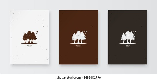 A tree logo with a rustic and classic concept with several birds that will perch on the tree.