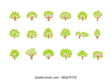Tree logo set. Tree illustration icon set. Tree with flowers