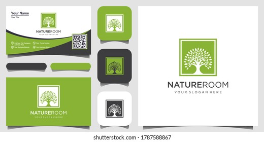 tree logo with square concept design elements. Green Garden Vector Logo Template and business card design